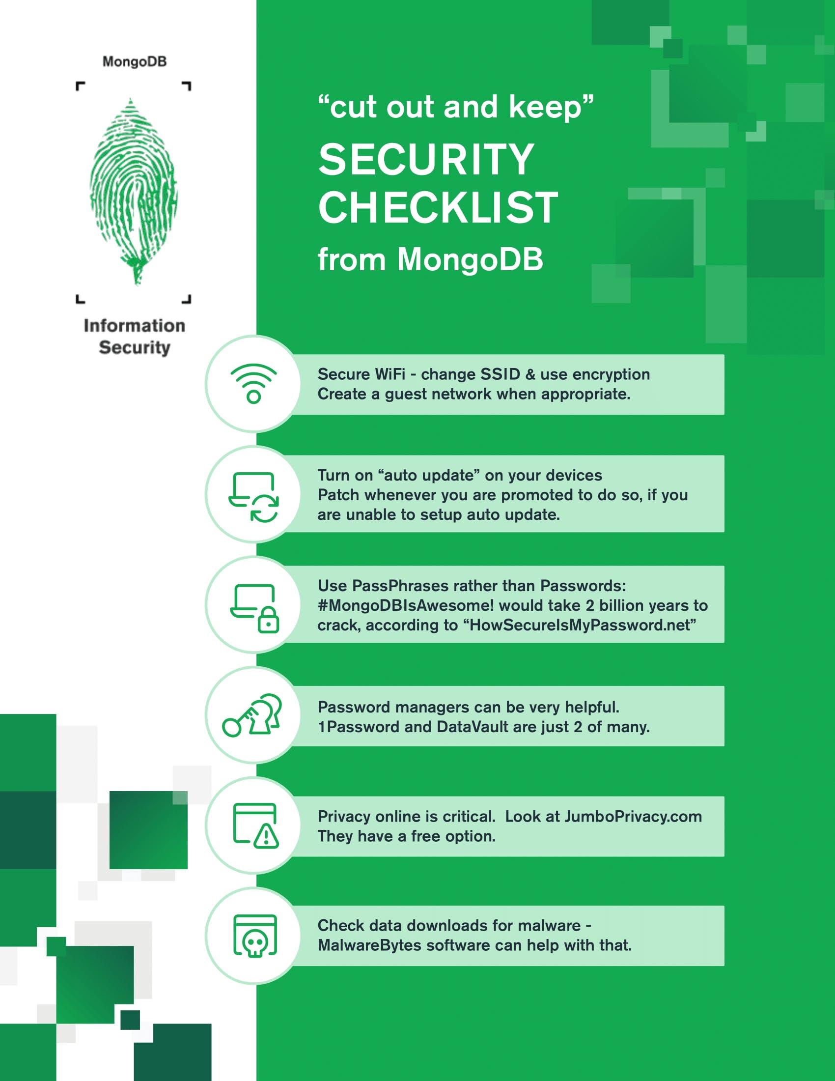 MongoDB WITI Webinar Security Checklist