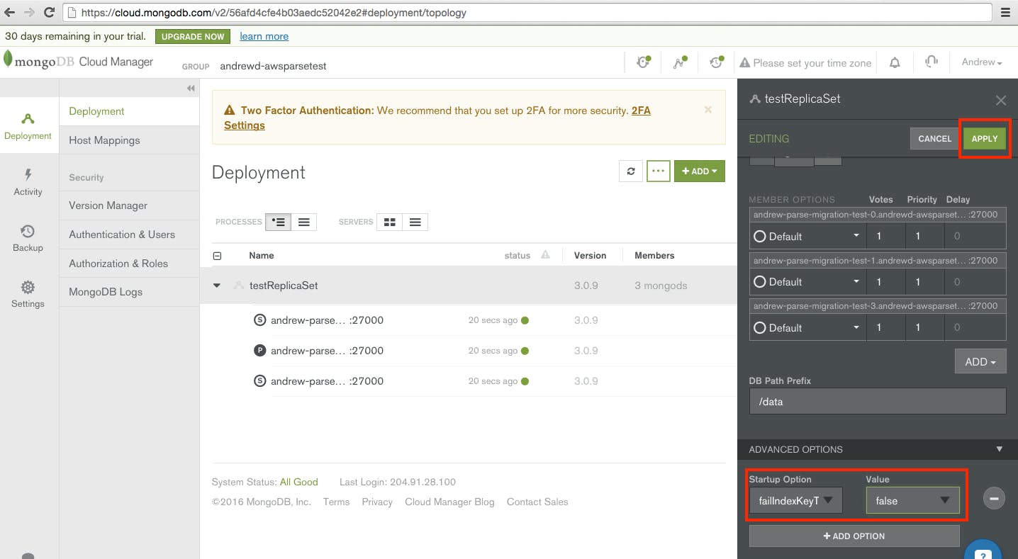 MongoDB Cloud Manager makes it easy to configure MongoDB for your Parse Migration