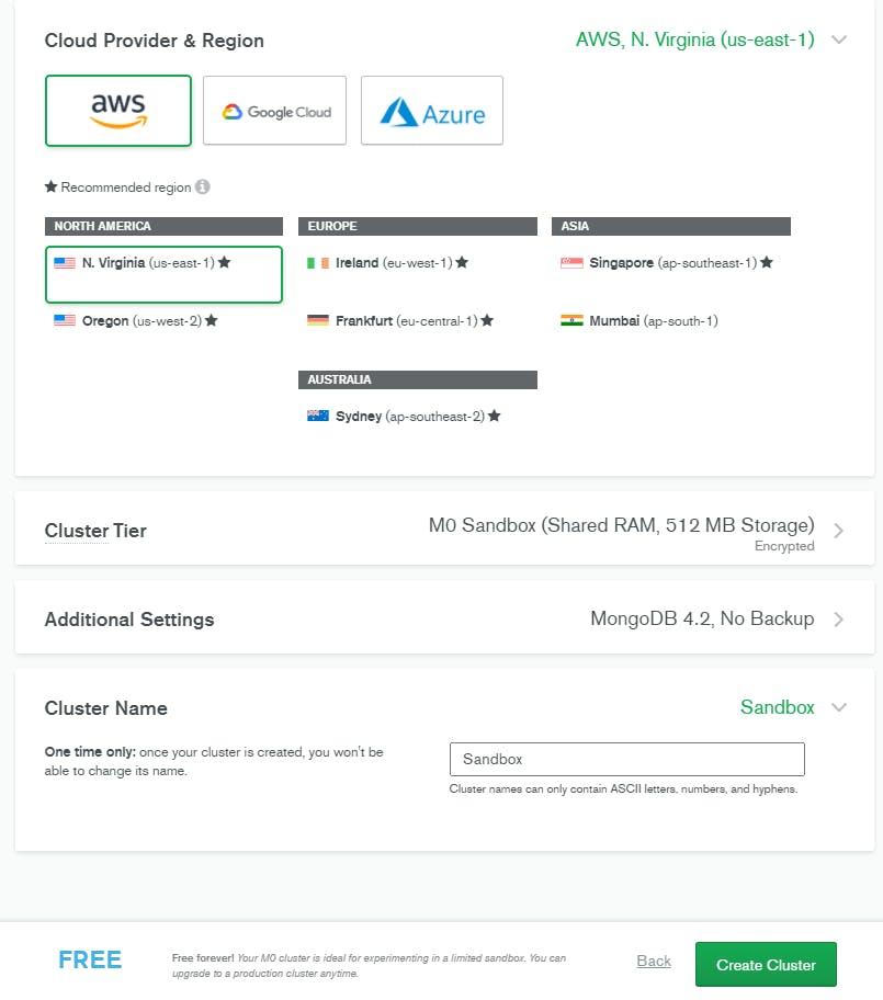select cloud provider for mongodb