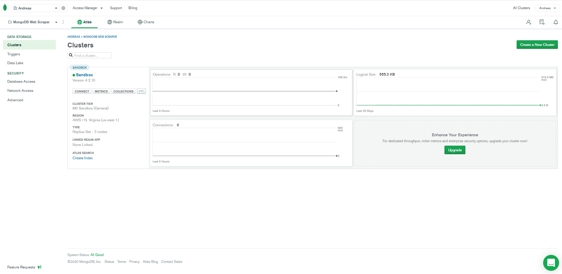 mongodb atlas cluster homepage