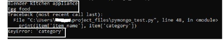Python KeyError