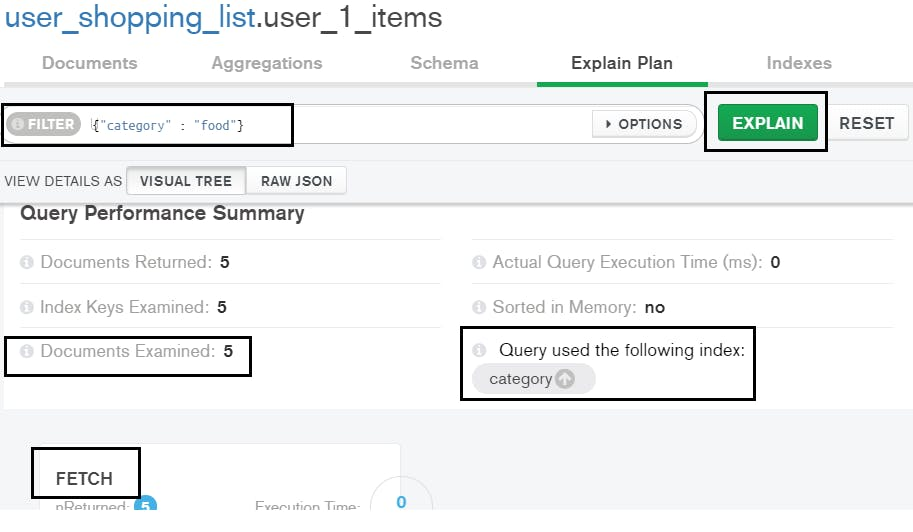 Query results with index