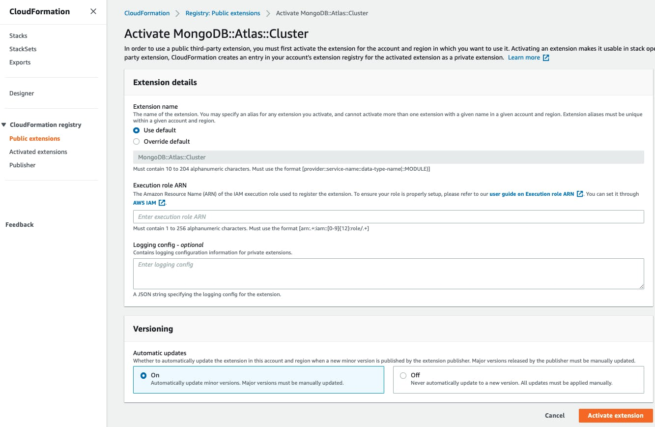 Activate MongoDB Atlas resources in an AWS region in CloudFormaiton