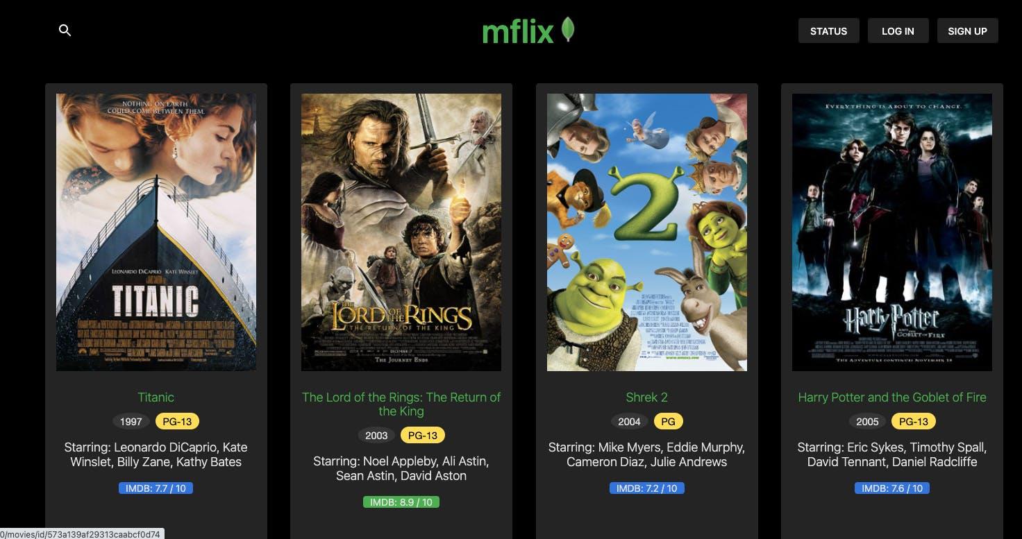 """mflix"" application screenshot"