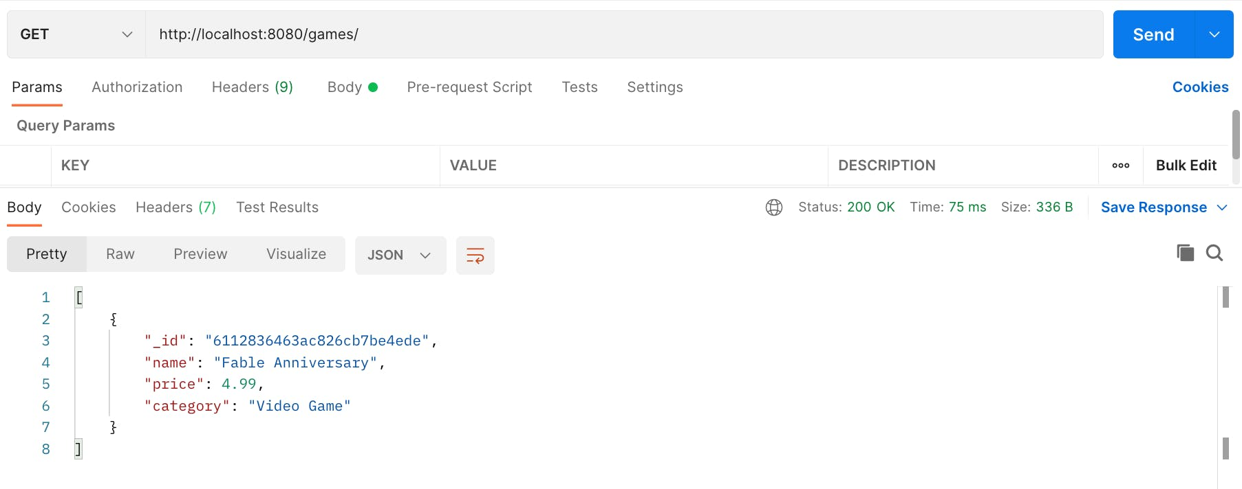 Screenshot of Postman showing a GET request to /games that returns an array containing the one game document created already.