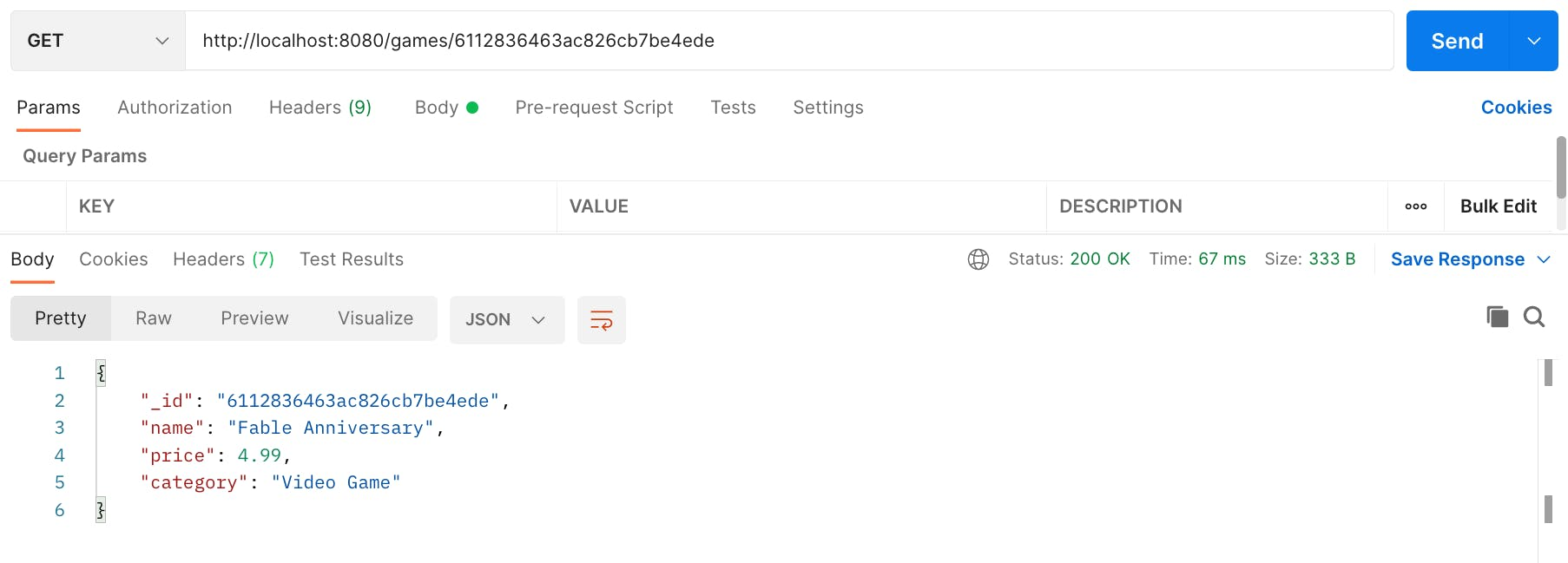 Screenshot of Postman making a GET request to /game/id of the document and returning that document