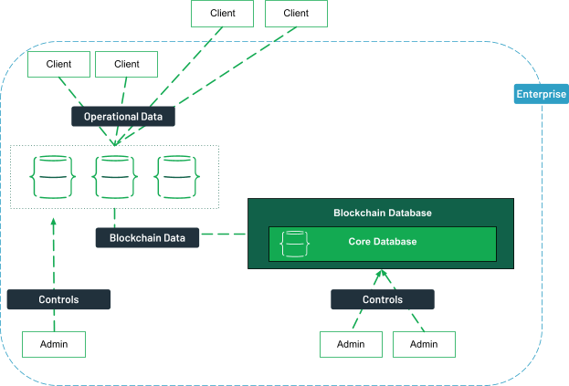 Clients, both internal and external can access data from a database, linked to the blockchain database. The administrators inside the enterprise control both databases.