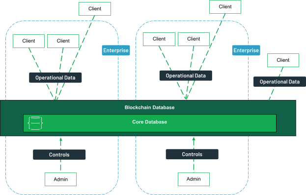Clients, both internal and external can access the blockchain database for operational data. Administrators from different enterprises control the database.