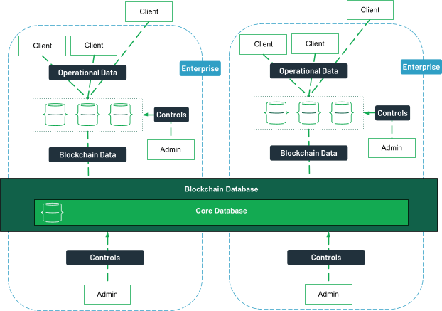 Clients, both internal and external can access data from a database, linked to the blockchain database. Administrators from different enterprises control the various databases.