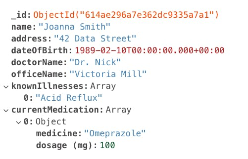 Example MongoDB Document for a Patient in Healthcare