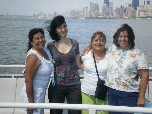 Photo of Alicia with her mother and aunts