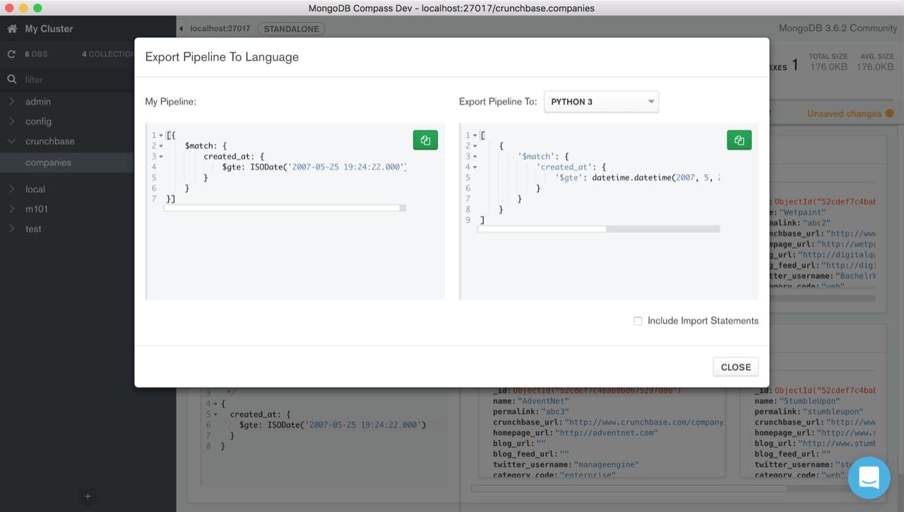 Screenshot of Compass Export to Language