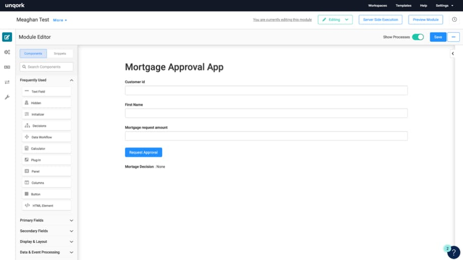 Screenshot of Unqork application for mortgae approval